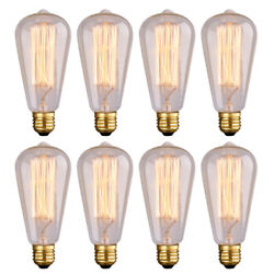8PCS Retro E26 60W 40W Edison Light Bulb Filament Amber Clear Glass Lamp 110V US $17.96