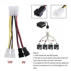 4-Pin Molex to 3-Pin CPU PC Case Fan Power Splitter Cable Adapter Connector $3.61