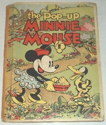 1933 1ST ED. THE POP-UP MINNIE MOUSE by WALT DISNEY STUDIOS w 3 COLOR POP-UPS