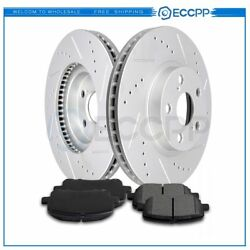 Front Brake Rotor And Ceramic Pads For Toyota Corolla 2003-2008 Drilled Slotted $54.15