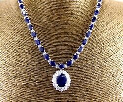 Oval Blue Sapphire & Diamond Tennis Necklace Pendant 14K White Gold 66.47Ct