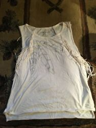 American Eagle Womens Tank Fringe Small Ivory Feather $4.99