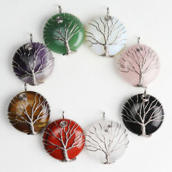Natural Gemstones Silver Tree of Life Reiki Chakra Round Pendant for Necklace