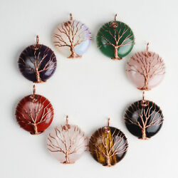 Natural Gemstones Rose Gold Tree of Life Reiki Chakra Round Pendant for Necklace