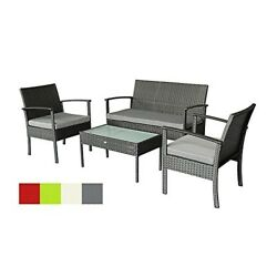 Oakside Small Patio Furniture Set Outdoor Wicker Porch Furniture Loveseat and Ch