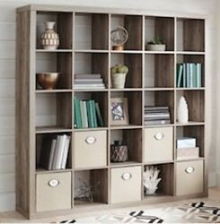 Rustic Gray Wood 25 Cube Modern Room Divider Bookcase Storage Organizer Wall She