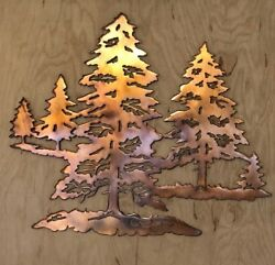 Pine Tree Forest Scene Wall Metal Art with Rustic Copper Finish Hanging $33.75
