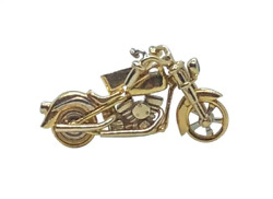 CUSTOM SOLID 18K GOLD HARLEY DAVIDSON INDIAN MOTORCYCLE PENDANT- ALL MOVEABLE