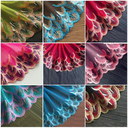 Floral Embroidered Lace Trim Sewing Craft Soft Gauze Fabric DIY Skirt Dress $2.33