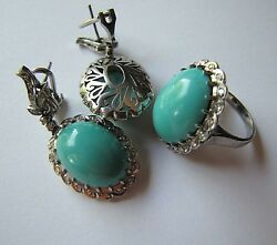 GIA Untreated Turquoise Palladium EARRINGS and RING 1.20 ct Colorless Diamonds