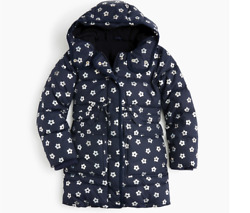 J.CREW Girls#x27; long floral puffer coat with eco friendly Primaloft $64.99