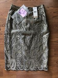 NWT CHANEL RUNWAY SEXY METALLIC LACE SKIRT FR 38 VERY RARE!