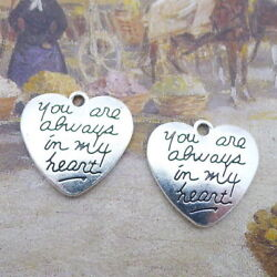 10pcs DIY Vintage Word Charms You Are Always In My Heart Bead Pendant 20x21mm $1.48