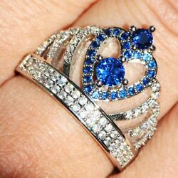 Exquisite 925 Silver Filled White Sapphire Engagement Princess Crown Ring 6-10