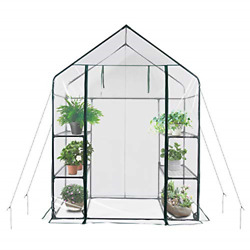 Mini Walk-in Greenhouse Portable Flower Garden With Clear PVC Cover Strong 3 6
