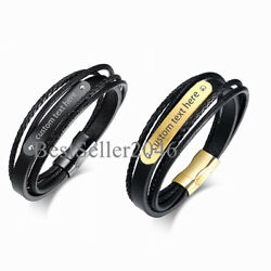 Mens Personalized Custom Engraving Multilayer Briaded Leather ID Bracelet 8.26quot; $12.99
