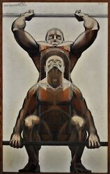 Two weight lifters Jean Lamorlette (1923-2014)bodybuilding weight lifting