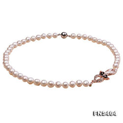 JYX 8-9mm Round White Freshwater Cultured Pearl Necklace Strand with Fox 20
