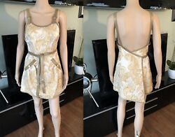 NEW CHANEL RUNWAY BROCADE LEATHER TRIMMED OPEN BACK DRESS FR 36