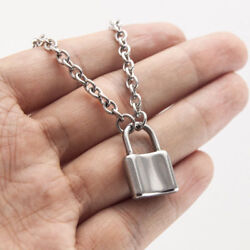 Women Jewelry Silver Color Padlock Necklace Alloy Pendant Chain Gifts