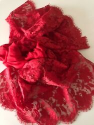 VALENTINO Made in Italy Cashmere Blend Red Lace Scarf