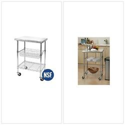 STAINLESS Steel KITCHEN CART Professional Mobile Food Storage Wine Glass Bottle