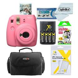 Fujifilm Instax Mini 9 Instant Film Camera Flaming Pink with Twin Pack 20 She...