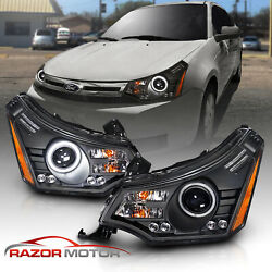 2008 2011 Black LED LED Halo Projector Headlight For Ford Focus Coupe Sedan $287.67