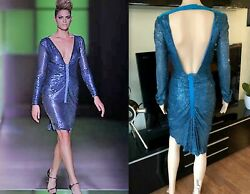 GIANNI VERSACE RUNWAY Sequin Cutout Back Dress Gown IT 40