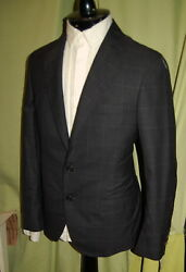 NWT BRUNELLO CUCINELLI 2 to 4 button dk grey plaid wool silk suit 48 38 ITALY