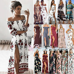 Womens Maxi Boho Floral Summer Beach Long Slit Evening Cocktail Party Sun Dress $18.99