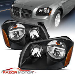 2005-2007 Replacement Driver + Passenger Black Headlights Pair For Dodge Magnum