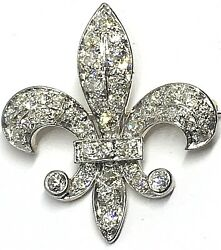 Antique Victorian Edwardian Diamond Fleur De Lis Pin  Pendant Platinum  Gold