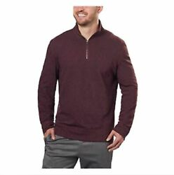 *Calvin Klein Jeans Men's Merino Quarter Zip Pullover Dark Chestnut Medium New