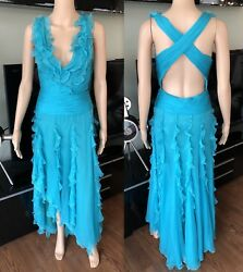 GIANNI VERSACE RUNWAY SS 2005 SEXY TURQUOISE DRESS GOWN IT 40 ICONIC!!!