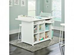Adult Craft Table White Stain Resistant Work Table w Storage She Shed Furniture