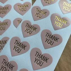 50 Heart Thank You Stickers On Glossy Pastel Pink Paper With Gold Lettering $3.50