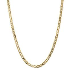 14k Yellow Gold 5.25mm Solid Concave Anchor Chain w Lobster Clasp 18