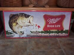Vintage Miller High Life Beer BASS Fishing Lure Metal Sign She's A Keeper