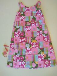 GYMBOREE Girl's Size 10 Tropical Patchwork Dress wHair Accessories