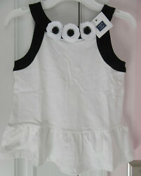 NWT Janie and Jack Girls White amp; Black Top Ruffle Hem with Flowers Size 8 $19.19