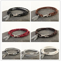 1Pcs Unisex Multi-layer Leather Wrap Braided Wristband Cuff Punk Bracelet Gift