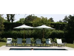 Set of 8 Barlow Tyrie Capri Chaise Lounge Chairs with Wheels