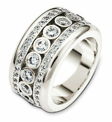 18K White Gold Dancing Dia. 11.5MM Wedding Band 1 34 cttw sz 4-14