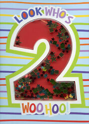 Look Whos 2 Confetti Shaker 3D Paper House Age 2 2nd Birthday Card $3.95