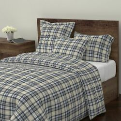 Rustic Tartan Woodland Navy Tan Beige Lodge Decor Sateen Duvet Cover by Roostery