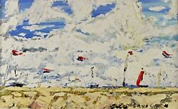 Signed - Coastal Landscape Sandy Beach with Sailing Boats French?