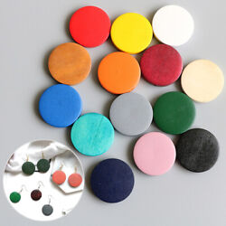 10PCS Candy Color Round Wooden Discs Earring Jewelry Making DIY 15202530mm