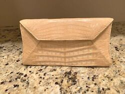 AUTHENTIC NANCY GONZALEZ LIGHT TAN CROCODILE CONVERTIBLE CLUTCH HANDBAG $1400.00