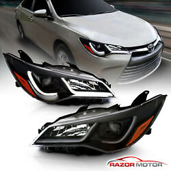 [LED Tube Bar]For 2015-2017 Toyota Camry Plank Style Black Projector Headlights